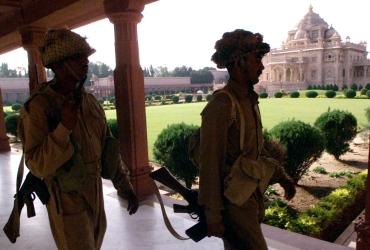 INDIA'S SECURITY PERSONNEL PATROL THE AKSHARDHAM TEMPLE IN GANDHINAGAR.