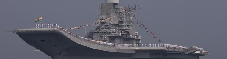 Indian aircraft carrier Vikramaditya is seen during the final rehearsal of International Fleet review in Vishakapatnam, India, Thursday, Feb. 4, 2016. Vikramaditya is a modified Kiev-class aircraft carrier which entered into service with the Indian Navy in 2013. Indian President Pranab Mukherjee, who is the supreme commander of the armed forces, will review a fleet of nearly 70 naval ships including several from foreign countries on Feb. 6, 2016.  (AP Photo/Saurabh Das)