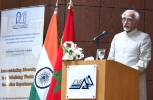 Hamid Ansari addressing at the Mohammed V University_121286