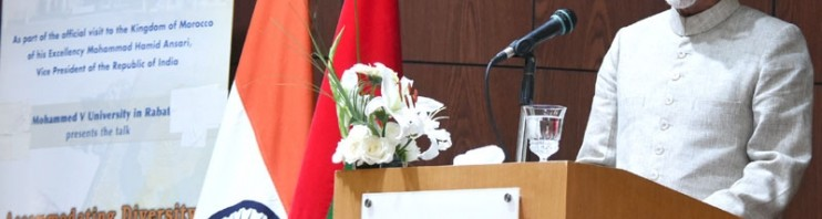 Hamid Ansari addressing at the Mohammed V University_121286