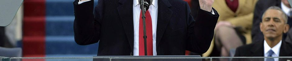 US President Donald Trump addresses the crowd during his swearing-in ceremony  on January 20, 2017 at the US Capitol in Washington, DC. / AFP / Mandel NGAN        (Photo credit should read MANDEL NGAN/AFP/Getty Images)