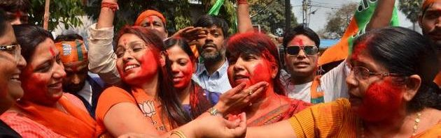 It's set to be a special 'Holi' for India's Prime Minister Narendra Modi and the Bharatiya Janata Party he leads. Saffron is the reigning colour as wild celebrations erupted outside the BJP's national headquarters in Delhi and UP's capital city of Lucknow. Swamped by fervour of this huge victory, party activists splashed a rainbow of colours, distributed sweets and set off crackers.