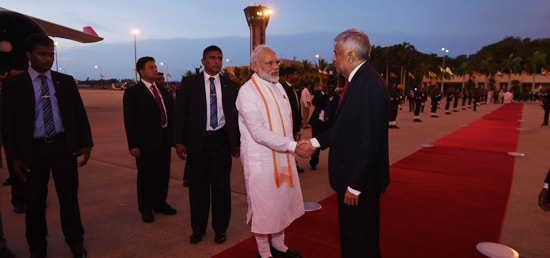 Sri Lanka Prime Minister with Indian PM Narendra Modi
